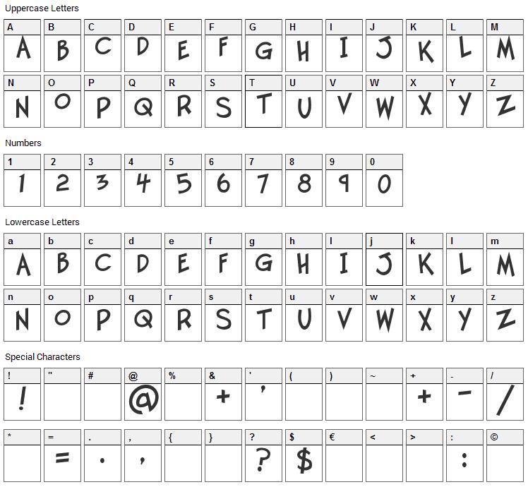 Twelve Ton Goldfish Font Character Map