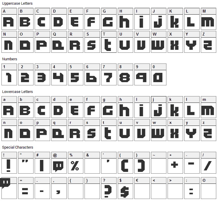 Twitchy TV Font Character Map