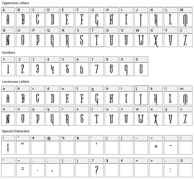 Two Gun Johann Font Character Map
