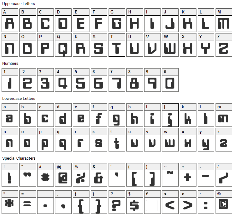 Twobit Font Character Map