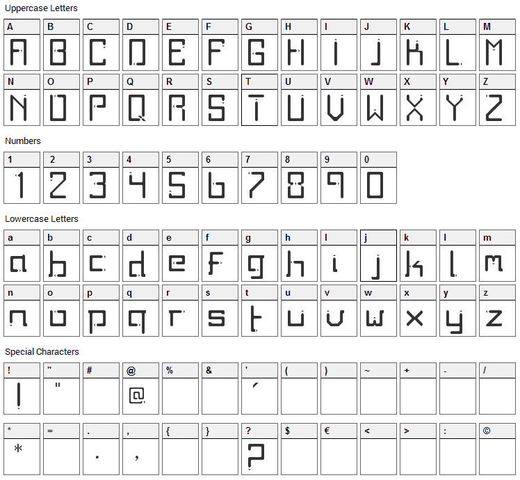 Twodays Font Character Map