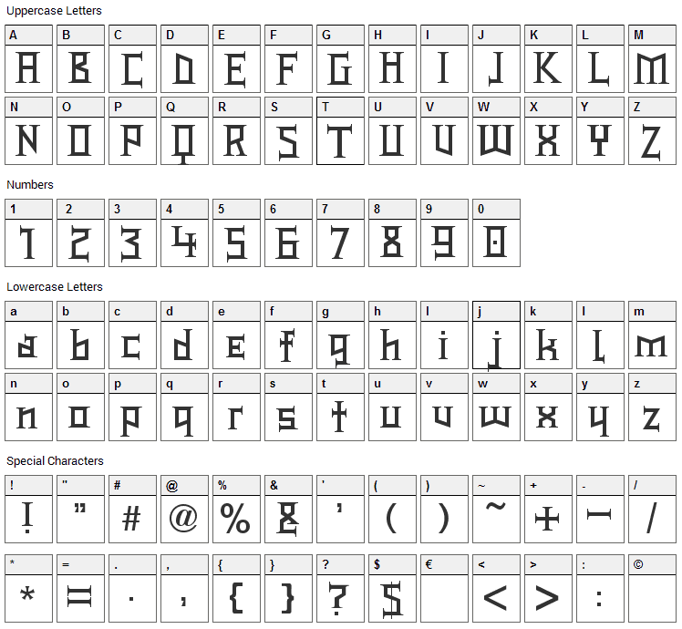 Type Knight Font Character Map