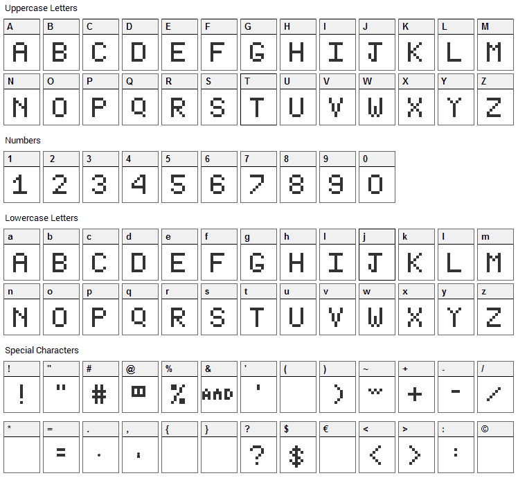 Type Writer Font Character Map