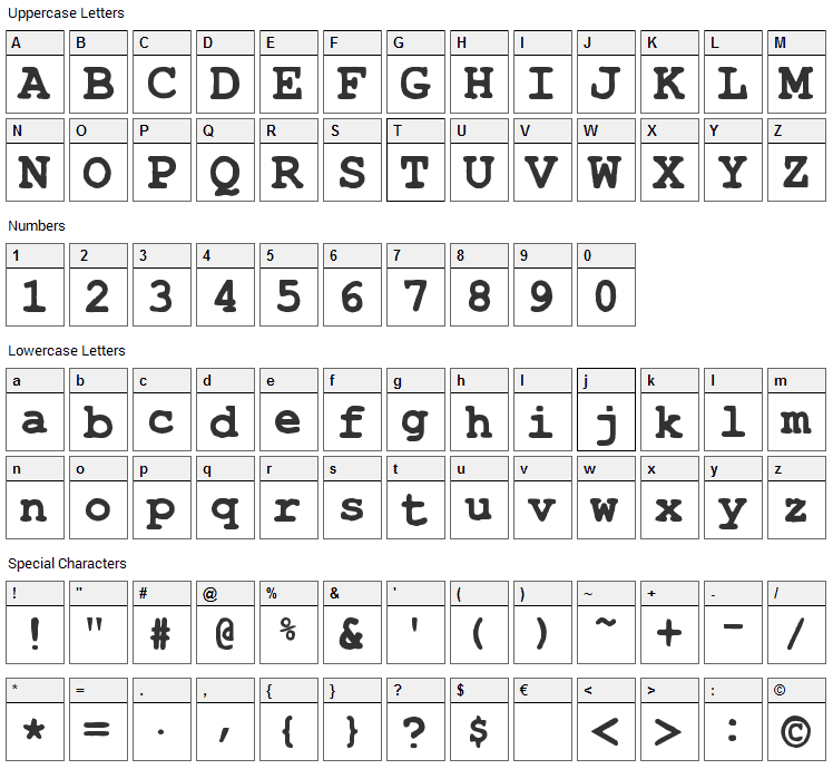 Type Wrong Font Character Map