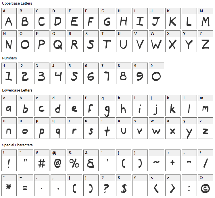 Typeecanoe Font Character Map