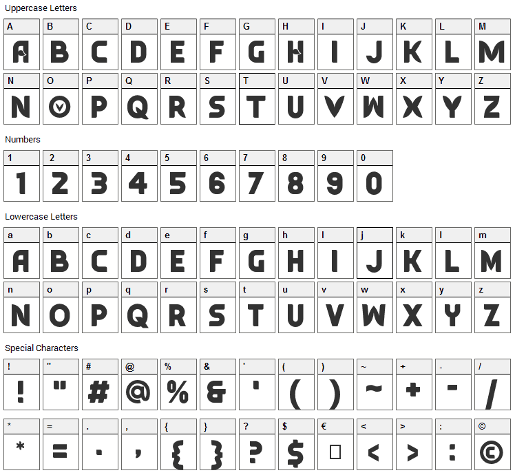 Typesauce Font Character Map