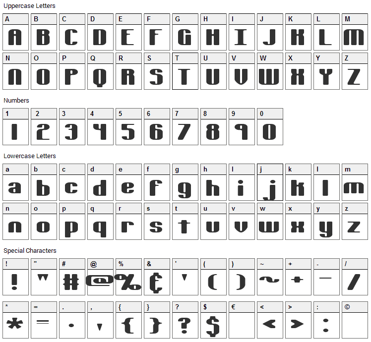 Typesource Extol Font Character Map