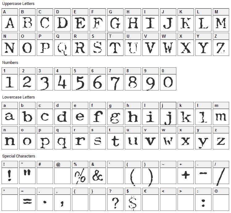 Typewriter Royal 200 Font Character Map