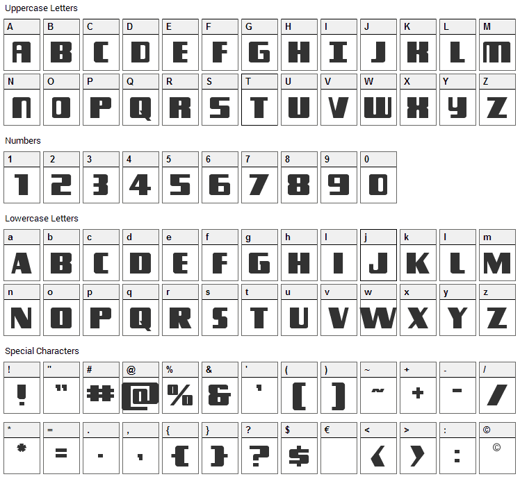 Typhoon Font Character Map