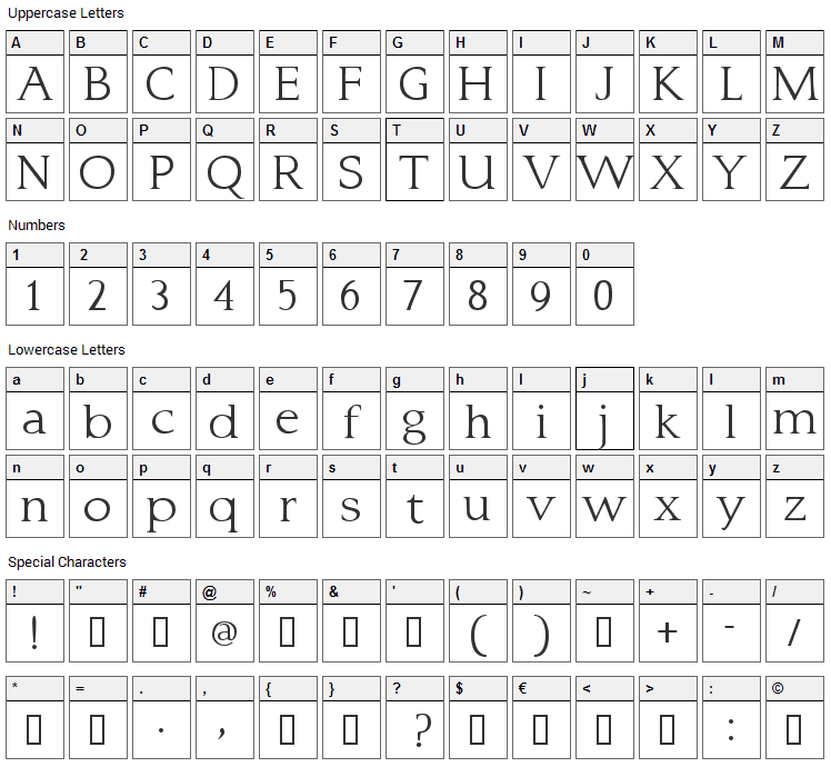 Typo 3 Font Character Map