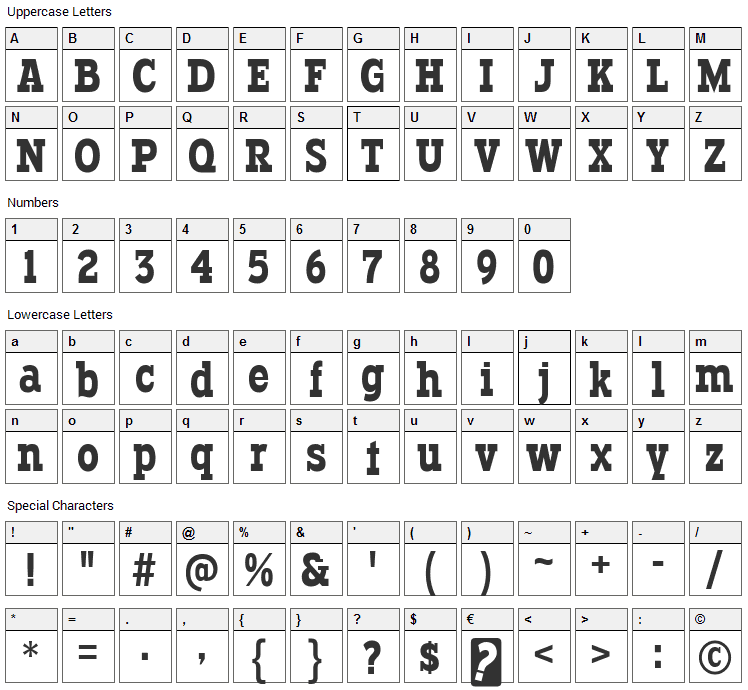 Typodermic Font Character Map