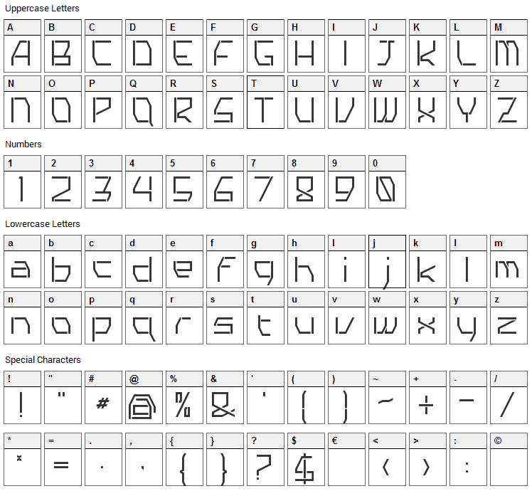 Tyro Font Character Map