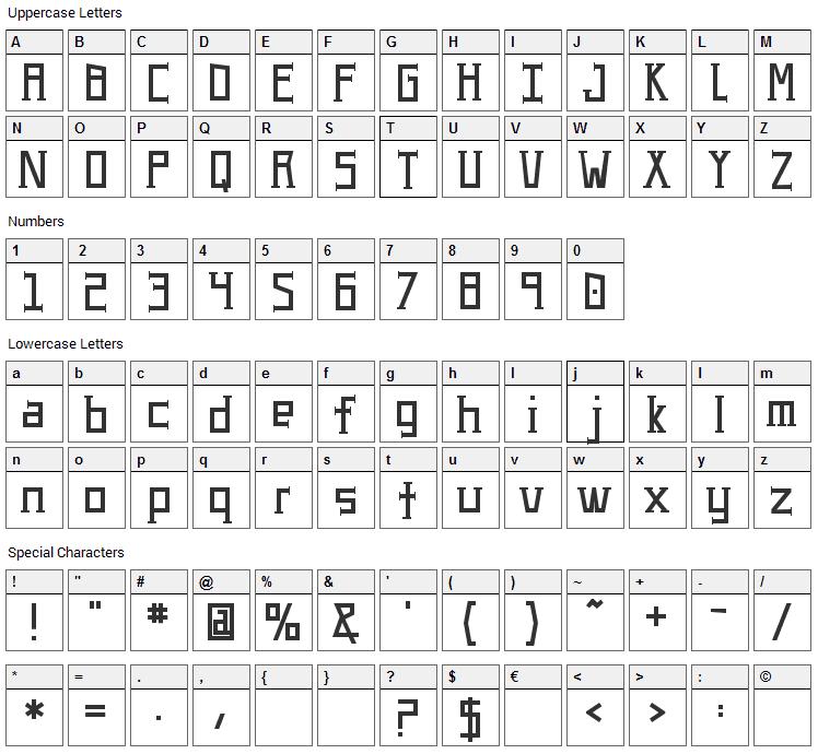UA Serifed Font Character Map