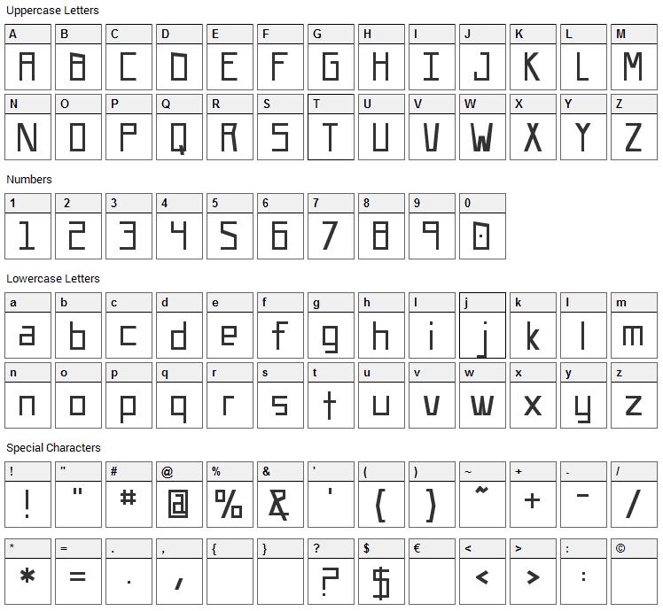 UA Squared Font Character Map