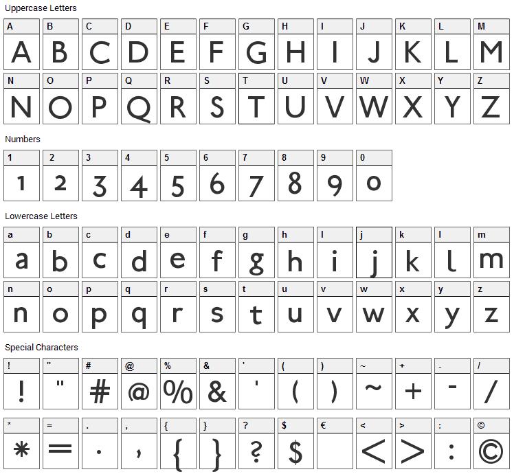 UBahn Font Character Map