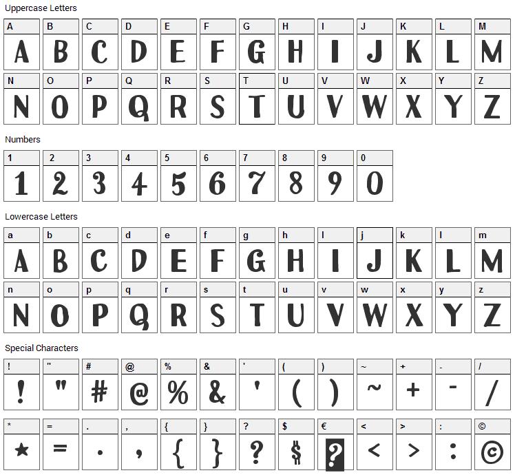 Uchiyama Font Character Map