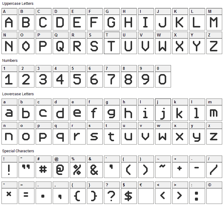 UHF Font Character Map