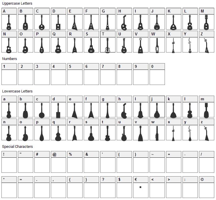 Ukulele Font Character Map