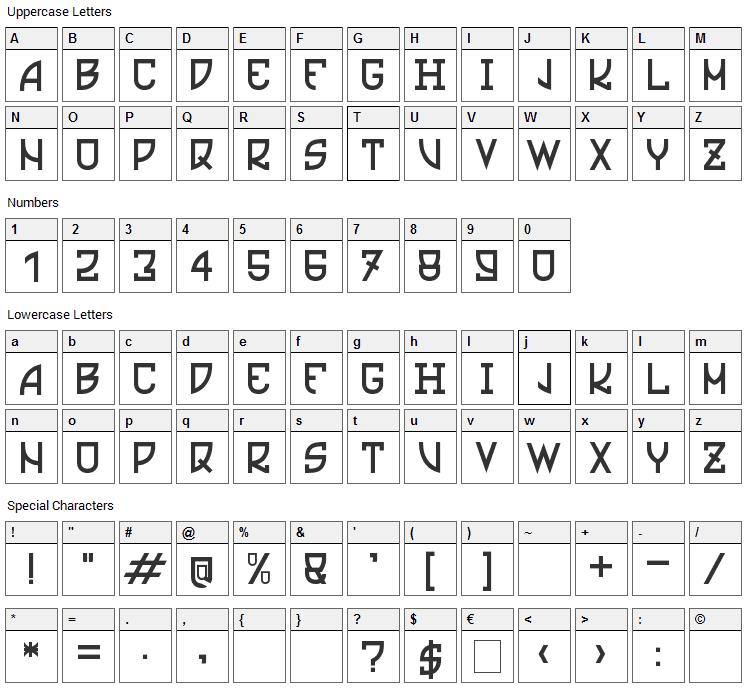 Ultras Liberi Font Character Map