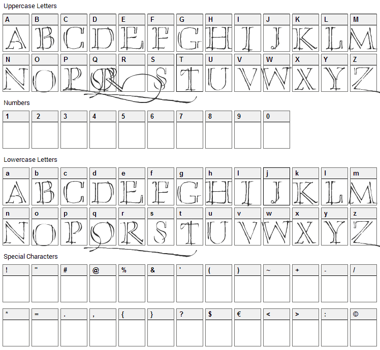 Umberette Font Character Map