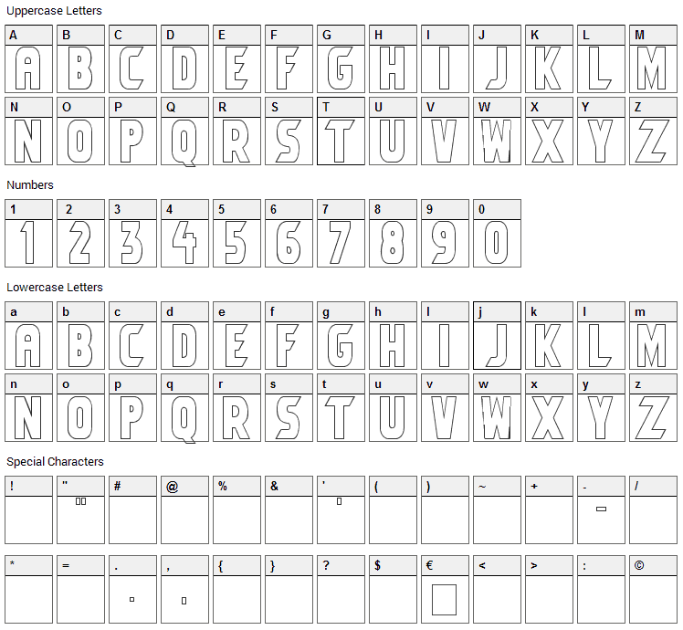 Umbro Font Character Map