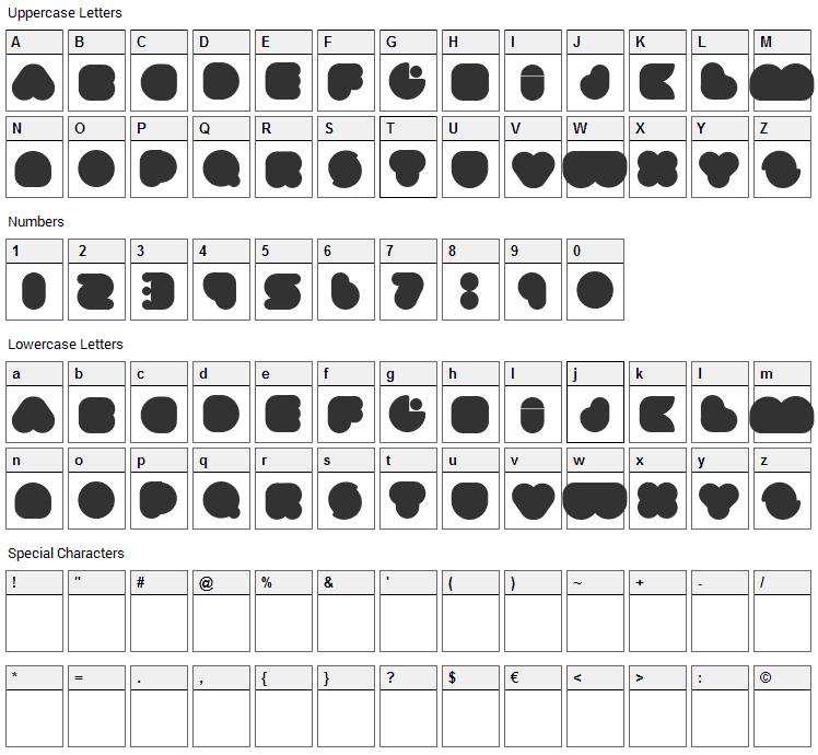 Umma Gomma Font Character Map