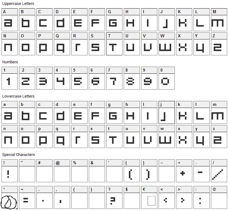 Unborn Editrion Font Character Map