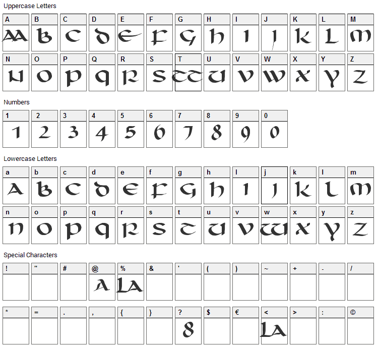 Unciaal Font Character Map