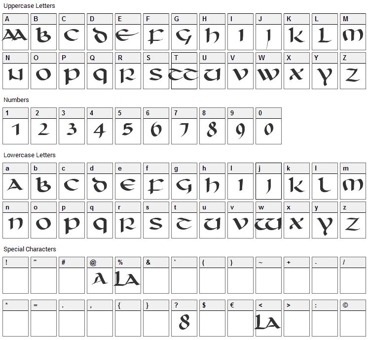 Unciaal Font Character Map