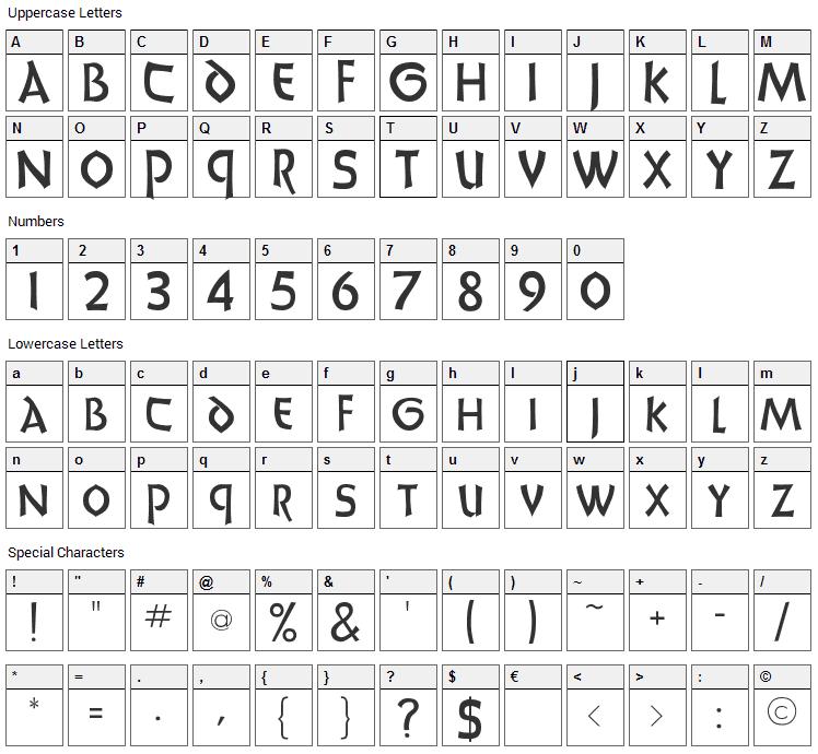 UnciaDis Font Character Map
