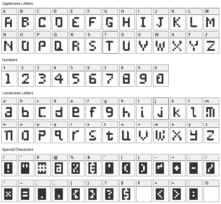 Undatame Font Character Map
