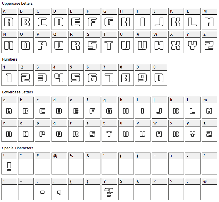 Underwhelmed Font Character Map
