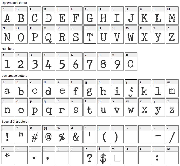 Underwood Champion Font Character Map
