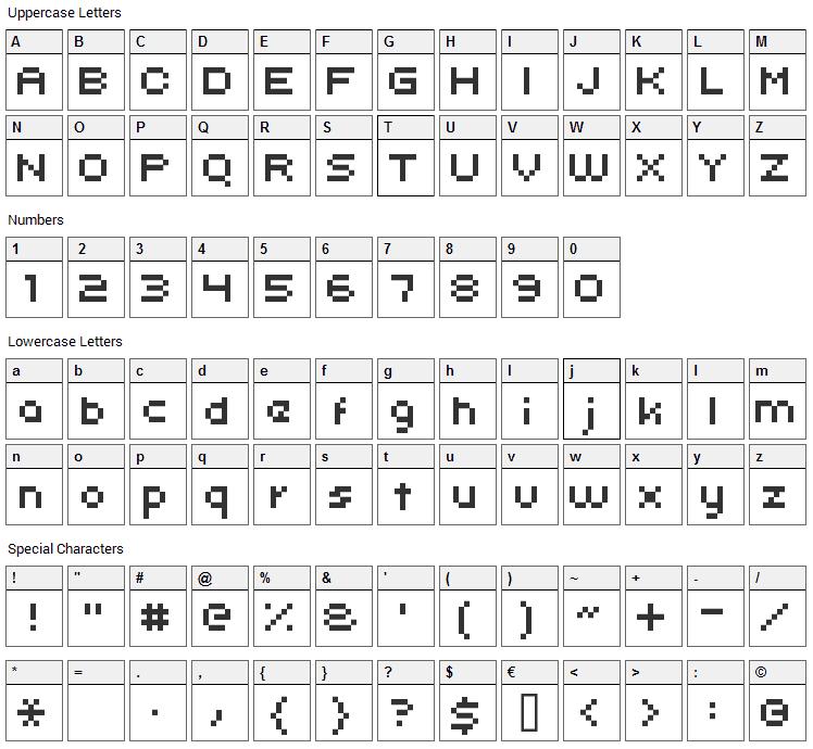 Uni 05_x Font Character Map
