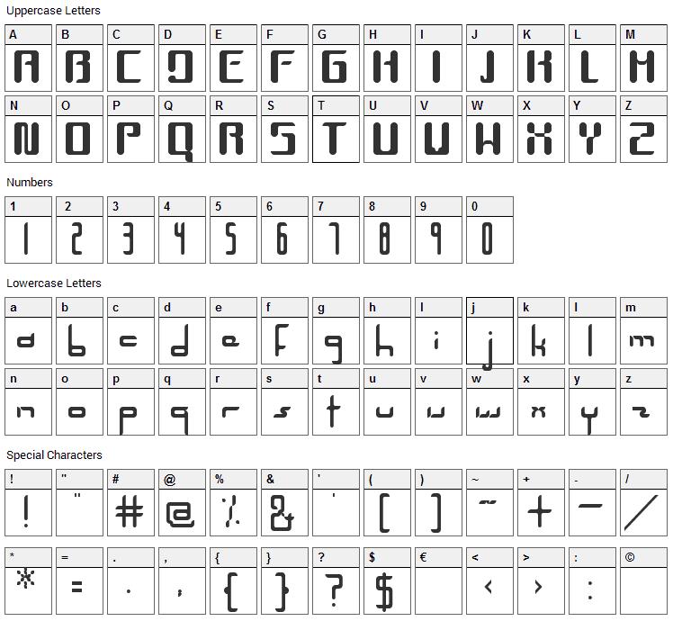 Unica Font Character Map