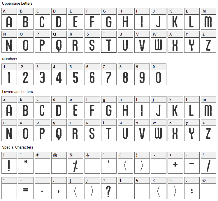 Union Agrochem Font Character Map