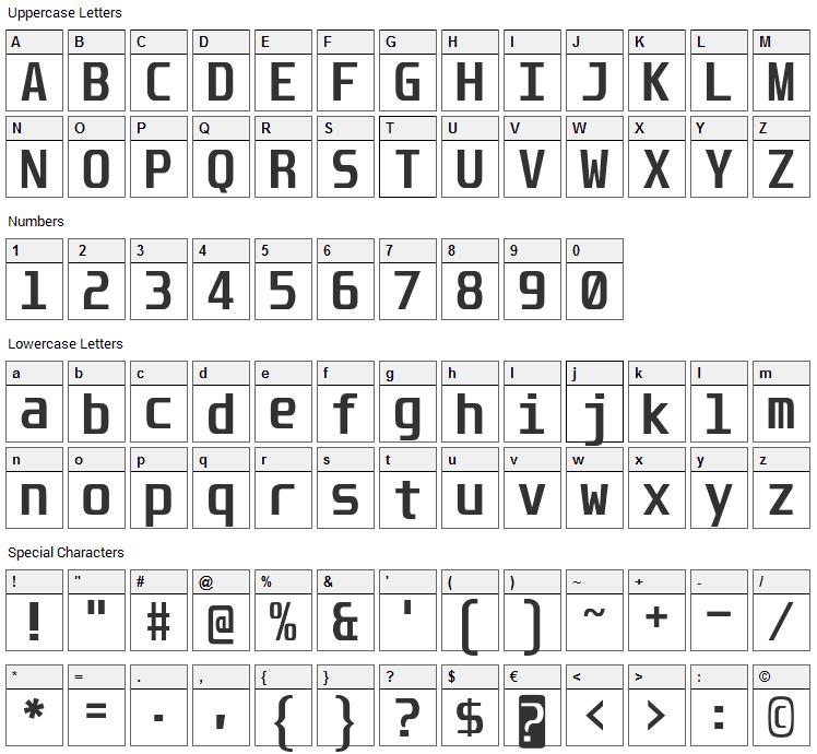 Unispace Font Character Map