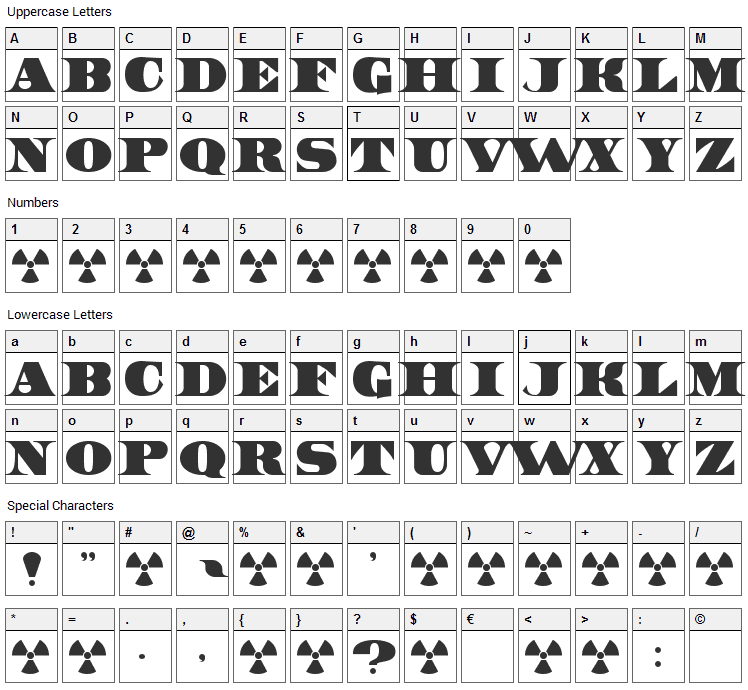 United States Font Character Map