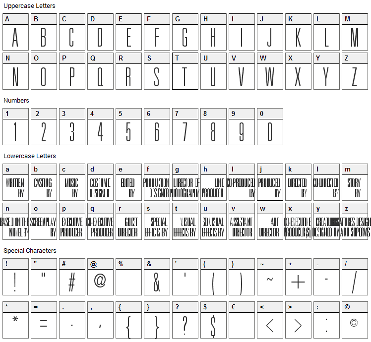 Universal Accreditation Font Character Map