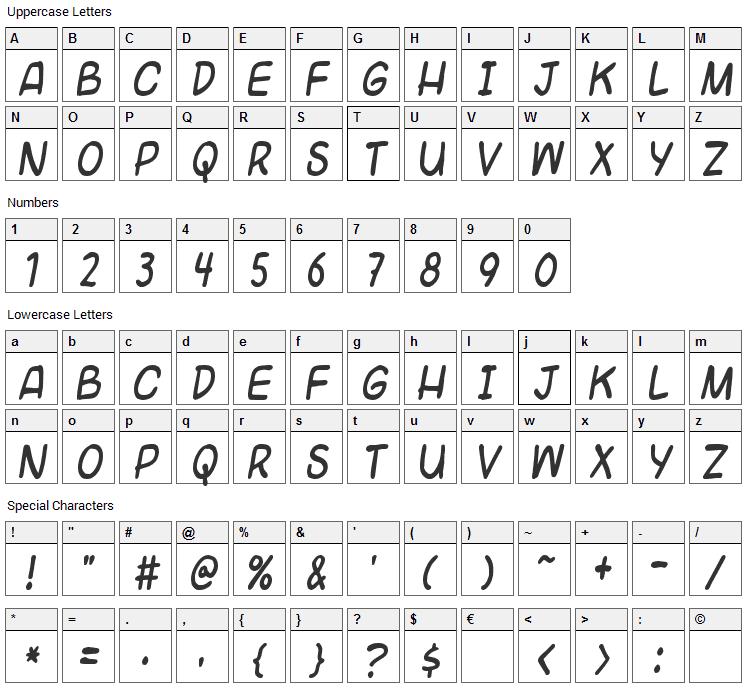Universal Fruitcake Font Character Map
