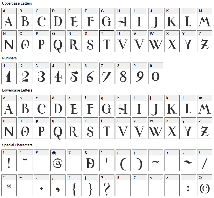 Universitas Studii Salamantini Font Character Map