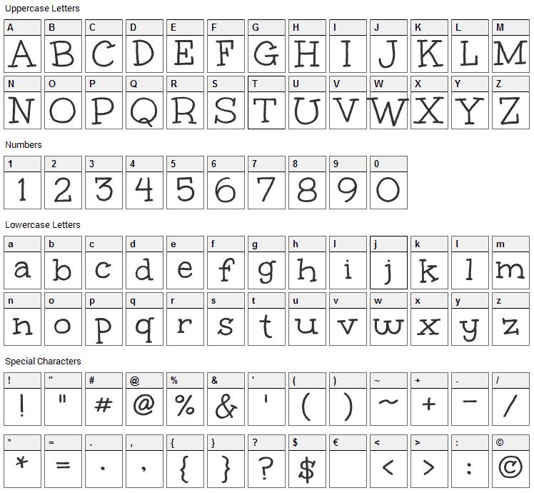 Unkempt Font Character Map