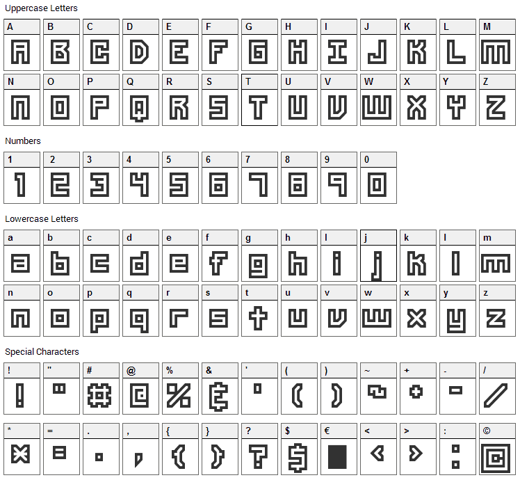Unlearned Font Character Map
