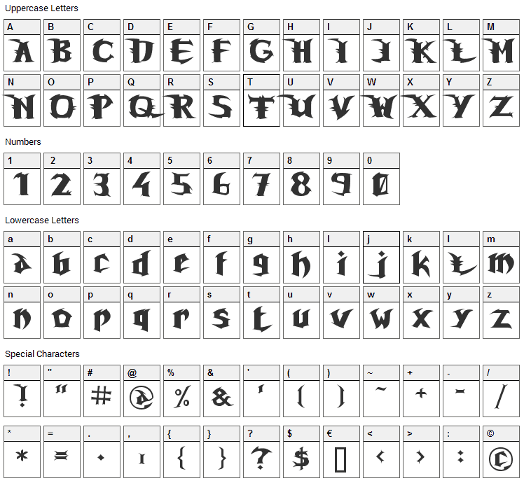 Unreal Tournament Font Character Map