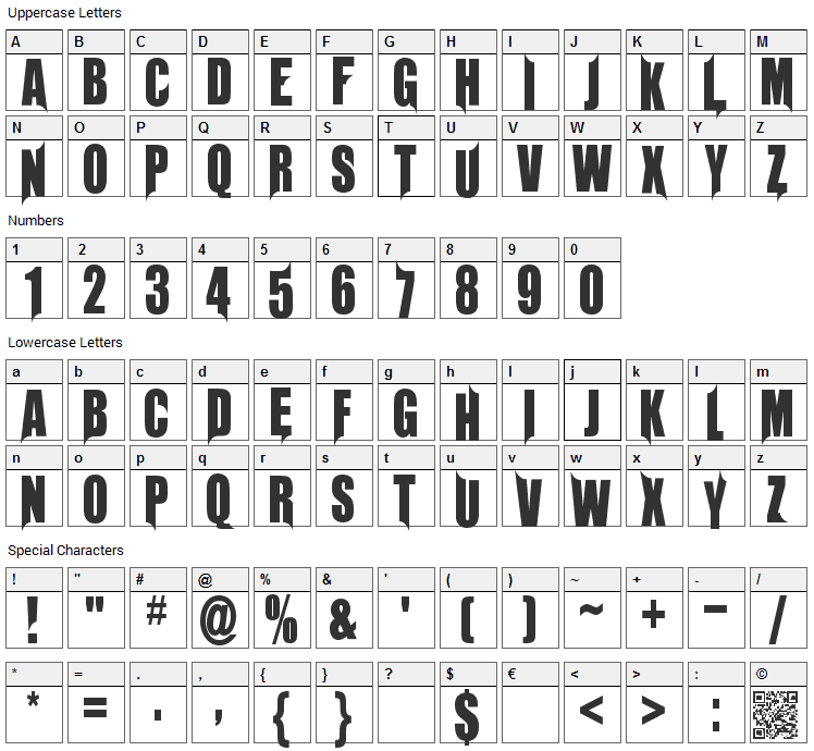 Unrealised Font Character Map