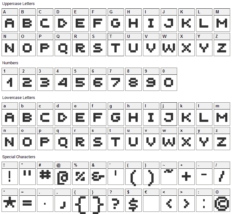 Unscreen MK Font Character Map