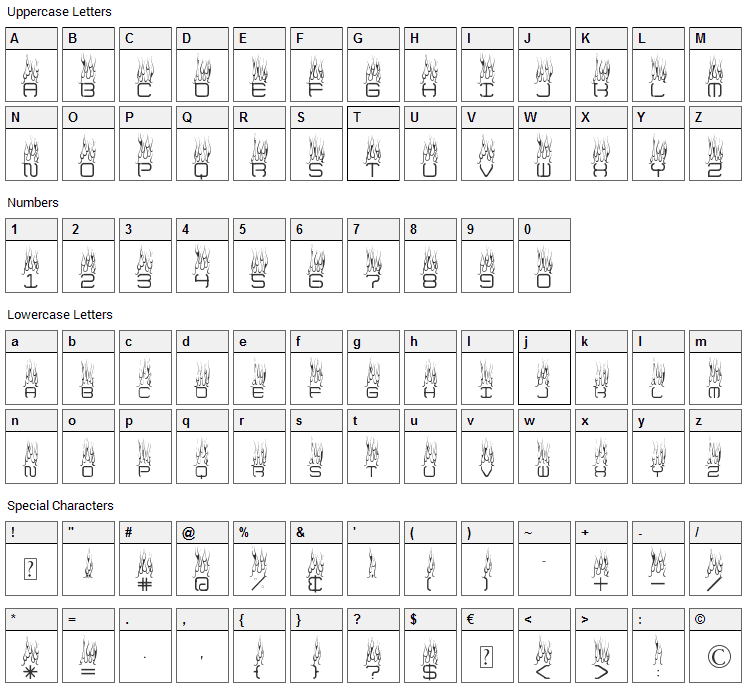 Up In Flames Font Character Map