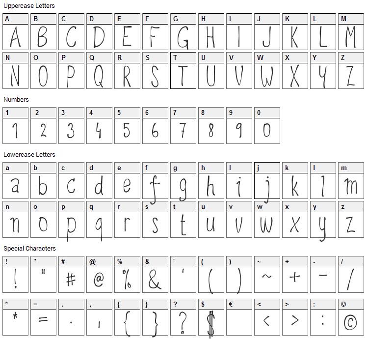 Upirpaw Font Character Map