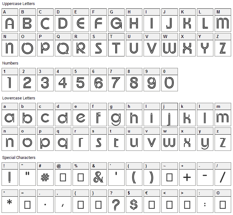 UptightC Font Character Map