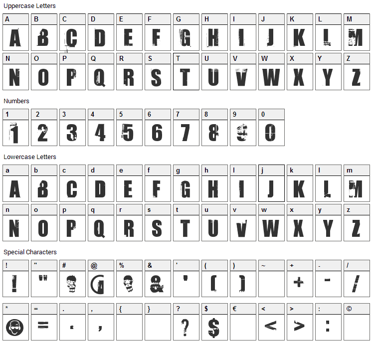 Uptown Font Character Map